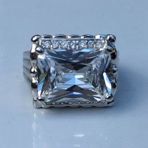 Princess Cut Simulated Diamond Silver Ring Size 7
